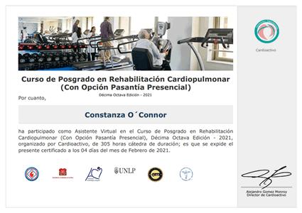 Certificado de Curso de Posgrado de Rehabilitación Cardiovascular