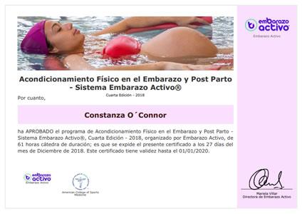 Certificado de Acondicionamiento Físico en el Embarazo y Post Parto