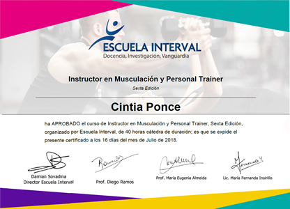 Instructor en Musculación y Personal Trainer