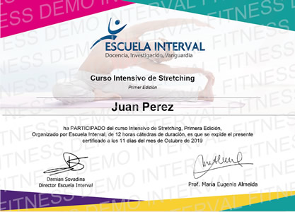Certificado Final de Aprobación - Curso Intensivo de Stretching