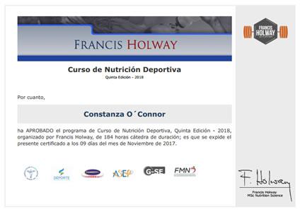 Certificado de Asistencia de Nutrición Deportiva