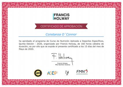 Certificado Final de Aprobación - Curso de Nutrición Aplicada a Deportes Específicos