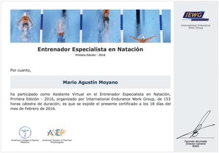 Certificación de Entrenador Especialista en Natación