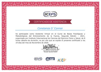 Certificado Final de Asistencia - Entrenamiento de la Fuerza para la Prevención de Lesiones y Recuperación Funcional