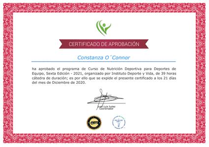 Certificado Final de Aprobación - Nutrición Deportiva para Deportes de Equipo