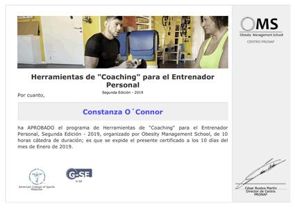 """Certificado Final de Aprobación de Herramientas de """"Coaching"""" para el Entrenador Personal"""
