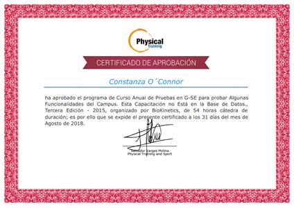 Certificado Final de Aprobación del Curso de Entrenamiento en Poblaciones Especiales