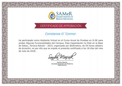 Certificado de Asistencia - Sociedad Argentina de Medicina Reproductiva