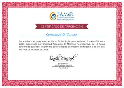 Certificado de Aprobación - Sociedad Argentina de Medicina Reproductiva