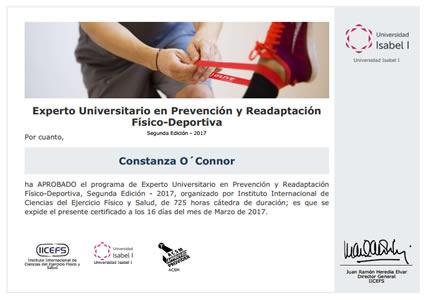 Experto universitario en Prevención y Readaptación Físico-Deportiva